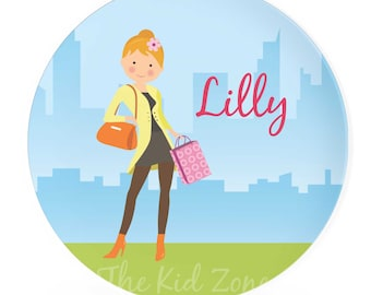 Personalized Melamine Plate 8 or 10 inch Shopping Girl