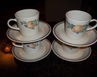 4 Corelle Abundance Coffee, Tea Cups, and 4 Saucers  Made in the USA