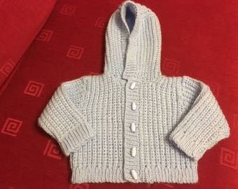 Knitted Blue Hood Jacket 6-9 months