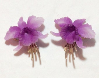 Beautiful Vintage Orchid Clip Earrings