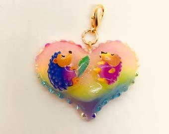 Rainbow Hedgehogs Heart Charm