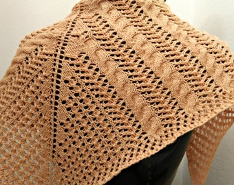 Cables and Lace Shawlette Original Design Hand Knit by Me