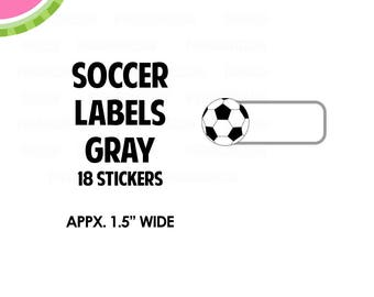 "Gray Soccer Label Stickers | 1.5"" size 