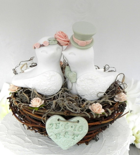 Rustic Love Bird Wedding Cake Topper Peach and Sage Green Love Birds in a Nest with Personalized Heart Custom Keepsake Gift