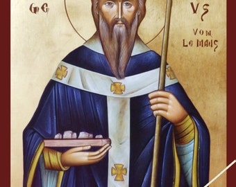 Saint Liborius of Le Mans, Der heilige Liborius von Le Mans, orthodox icon, byzantine icon, original hagiography, handpainted on request