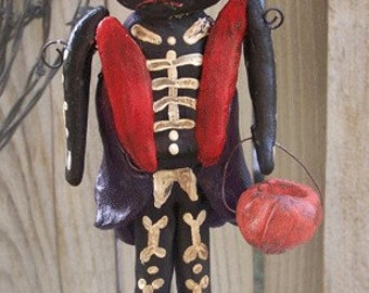 Vintage Folk Art Halloween Black Cat Skeleton Doll Nostalgic Ooak