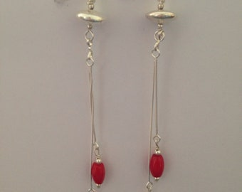 Long dangling earrings Silver 925 and Red bamboo