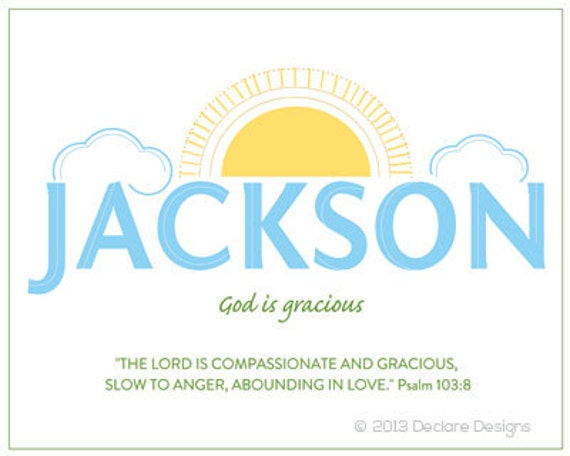 JACKSON Name Art Canvas with Name Meaning and Scripture Verse, 16x20- Wall art baby name meaning