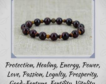 Fashion jewelry Garnet bracelet Tiger-eye bracelet Gemstone bracelet Healing crystal and stone Meditation bracelet for men gift for dad gift