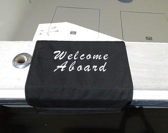 Sunbrella Boat Mat, Welcome Aboard Boarding Mat For Boat Gunnel, Sunbrella Boarding Mat, Sunbrella Gunnel Mat, Sunbrella Canvas Boat Mat