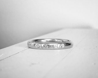 Pet name stacking ring stainless steel hand stamped hypoallergenic 3mm name ring pet memorial ring