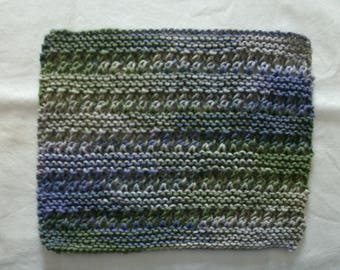 Hand Knit Cotton Dishcloth or Washcloth - measures approximately 81/2x10 inches - color is various purples with green