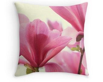 Flower Pillow, Magnolia Flowers, Pink Cushion, Pink and White Decor, Flower Decor, Floral Cushion, Pretty Pillow, Magnolia Tree