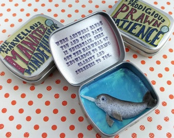 Narwhal Pocket Totem Tin 'The Notable Narwhal of Knowledge' Quirky Comforting Meditation Gift Mindfulness Aid