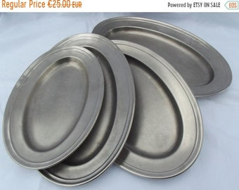 HALF PRICE SALE Four Pro-chef serving platters vintage set of four quality robust stainless steel serving plates pro-kitchen equipment durab