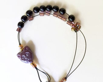 kitty cat - row counter abacus tool jewelry for knitters bracelet - knitter's gift