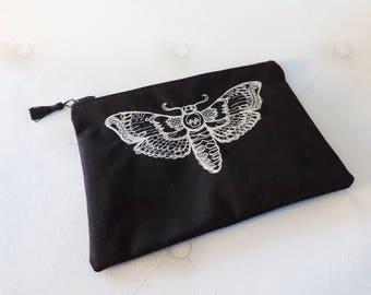 Death head moth gothic zip pouch, gothic,  makeup bag, bag organizer, black embroidered purse, cosmetic bag, pencil case, entomology