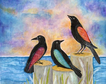 three crows at sunset - limited edition print