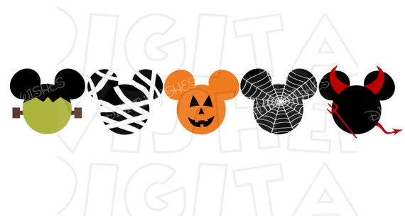 Halloween Mickey Mouse Heads Ears No Text Digital Iron On