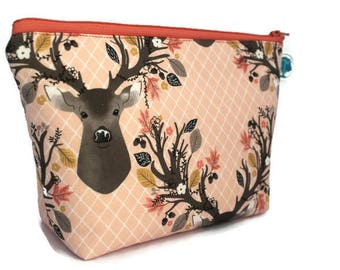 Large Cosmetic Bag - Makeup Bag - Accessory Bag -  Make up Bag - Toiletry Bag - Gadget Bag - Jewelry Pouch in Fall Deer