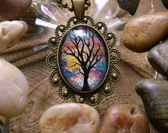 Sunset Tree Hand Painted Cameo Necklace