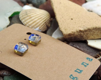 Blue and gold Venetian glass square earring studs