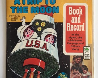 A Trip To The Moon Vintage Book And Record By Peter Pan Records 1971