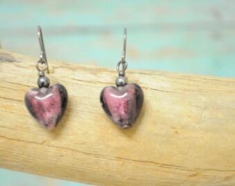 Heart earrings heart shaped earrings hook Purple glass heart shaped earrings  - 212