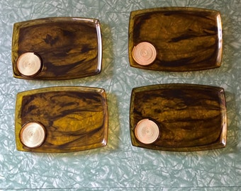 1960s Vintage Lucite Snack Trays. Marbled brown and clear with a drink holder and coaster.
