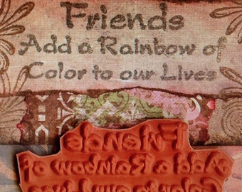 Friends Add Rainbow of Color.....UNMOUNTED RUBBER STAMP altered collage art scrapbook mixed media
