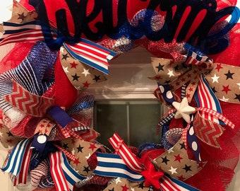 Patriotic Wreath/4th of July Wreath/4th of July Decor/Memorial Day Wreath/Summer Wreath/American Wreath/Patriotic Door Decor