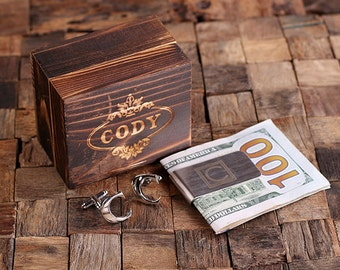 """Initial """" C """" Personalized Men's Classic Cuff Link & Money Clip with Wood Box Monogrammed Engraved Groomsmen, Best Man, Father's Day Gift"""