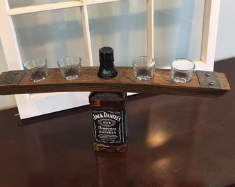 Shot Glass Bottle Caddy / Topper Made From Whiskey / Bourbon Barrel Stave