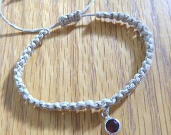 February Birthstone Hemp Bracelet, Hemp Bracelet Handmade, Birthstone Jewelry, Birthstone Charm Bracelet, Hemp Jewelry, Hemp Bracelets, Hemp