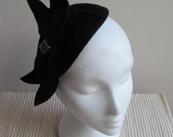 Black Velour/Velvet Felt, 1940/50s Vintage Style