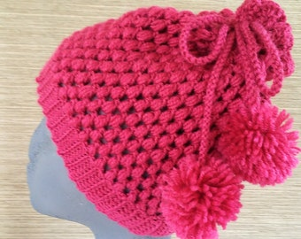 Gorro rosa en ganchillo con pompones- Crocheted pink hat with pompons- Handmade hats- Wool beanies-Knitted hats- Cozy hats-Crocheted beanies