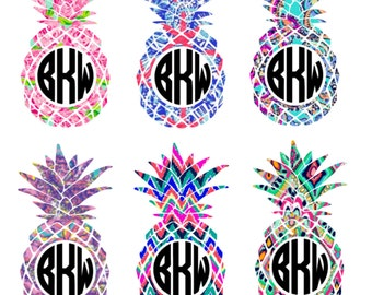 Lilly Pulitzer Inspired Pineapple Decal - Yeti Decal - Monogram Decal - Laptop Decal