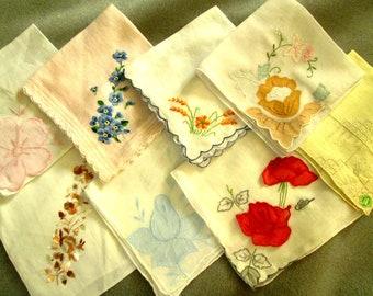 Hankies, Handkerchiefs, Embroidered, Wedding, Lace, Monogram, Vintage, FREE SHIPPING