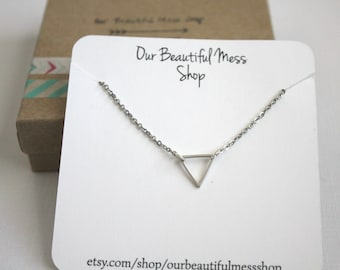 Small Triangle Necklace / Silver Triangle Necklace / Layering Necklace / Gifts for Her / Bridesmaids Gift / Christmas Gift