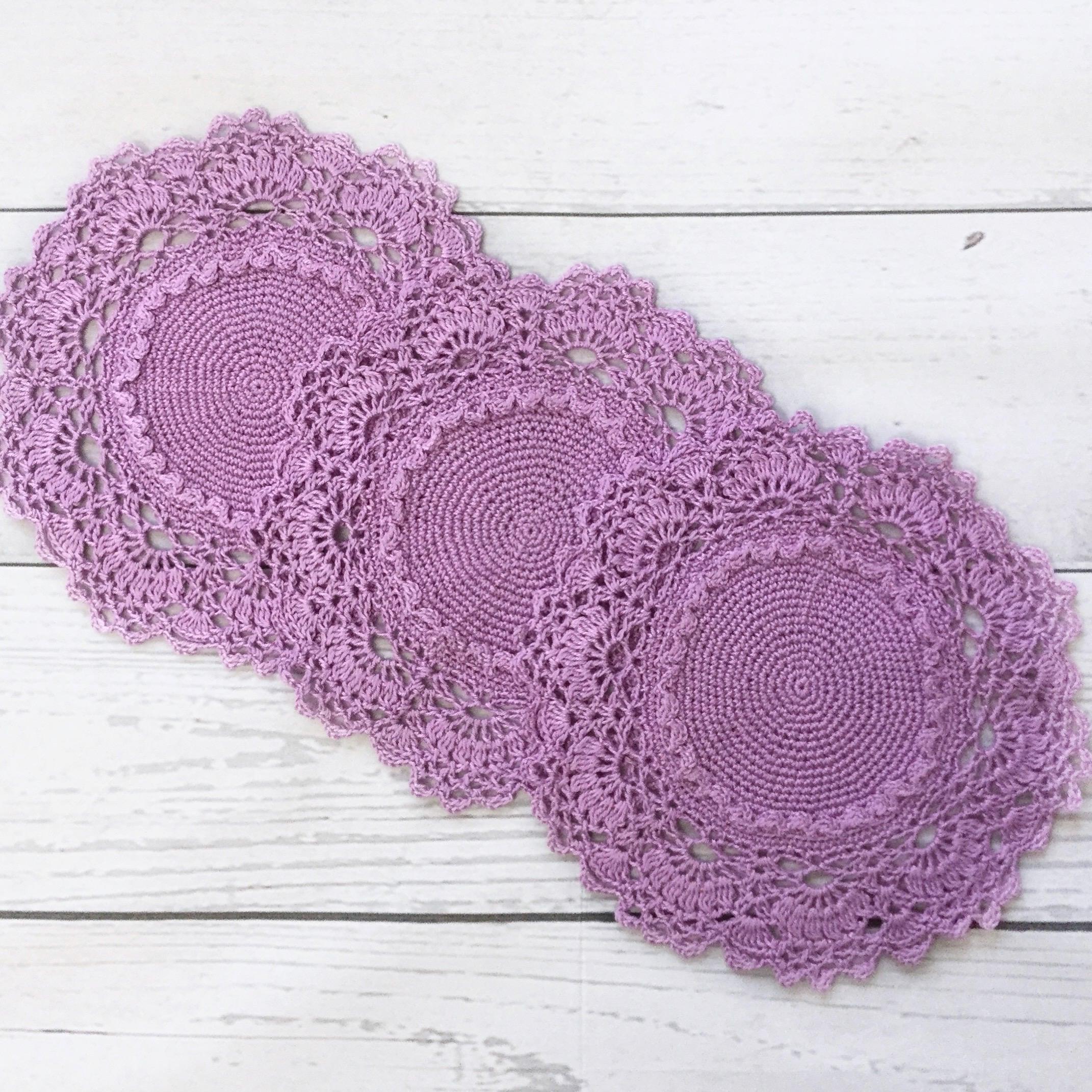 Violett Deckchen häkeln Spitzendeckchen von Patricia