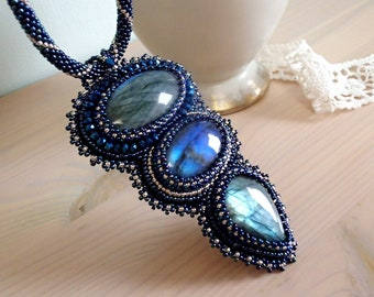 Blue Labradorite Necklace, Bead Embroidered Necklace, Unique Necklace, Beadwork Necklace, OOAK necklace