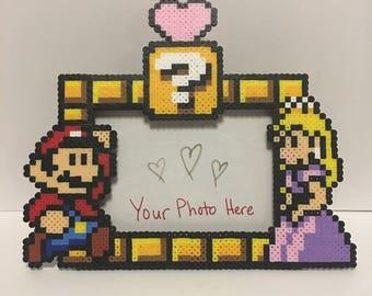 Super Mario and Princess Peach Love 7x5 inches Perler Bead Photo Frame