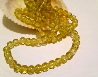 50 Yellow Glass Crackle Beads 6mm Jewelry Supplies YCGB6-50BD1-21