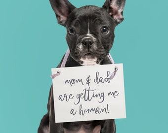 Mom & Dad Are Getting Me A Human Sign | Funny Dog Pregnancy Announcement Sign For New Baby Maternity Photo Shoot 1567 BB