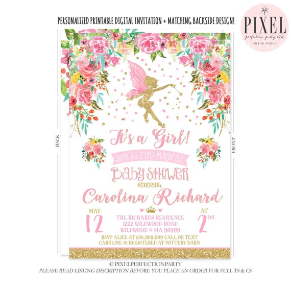 Fairy Baby Shower Invitation Floral Fairy Baby Shower Spring