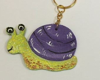 SALE - Snail keyring/keychain. Handpainted, wooden. Free UK delivery