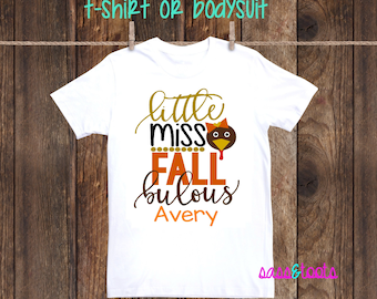 Little Miss Fallbulous Thanksgiving Personalized Name Shirt one piece bodysuit thankful girl fall turkey day
