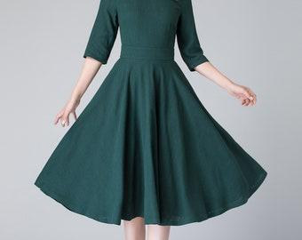 linen summer dress, midi dress, linen dress, woman dress, dark green dress, evening dress, fit and flare dress, prom dress 1903