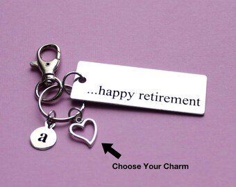Personalized Happy Retirement Key Chain Stainless Steel Customized with Your Charm & Initial - K289
