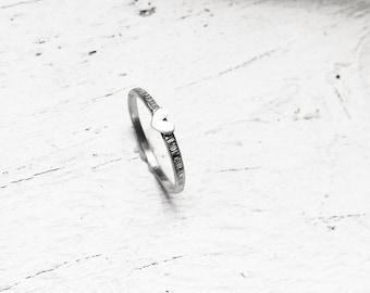 rippled tiny heart ring